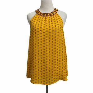 Sweet Wanderer Yellow Sleeveless Floral Top Floral